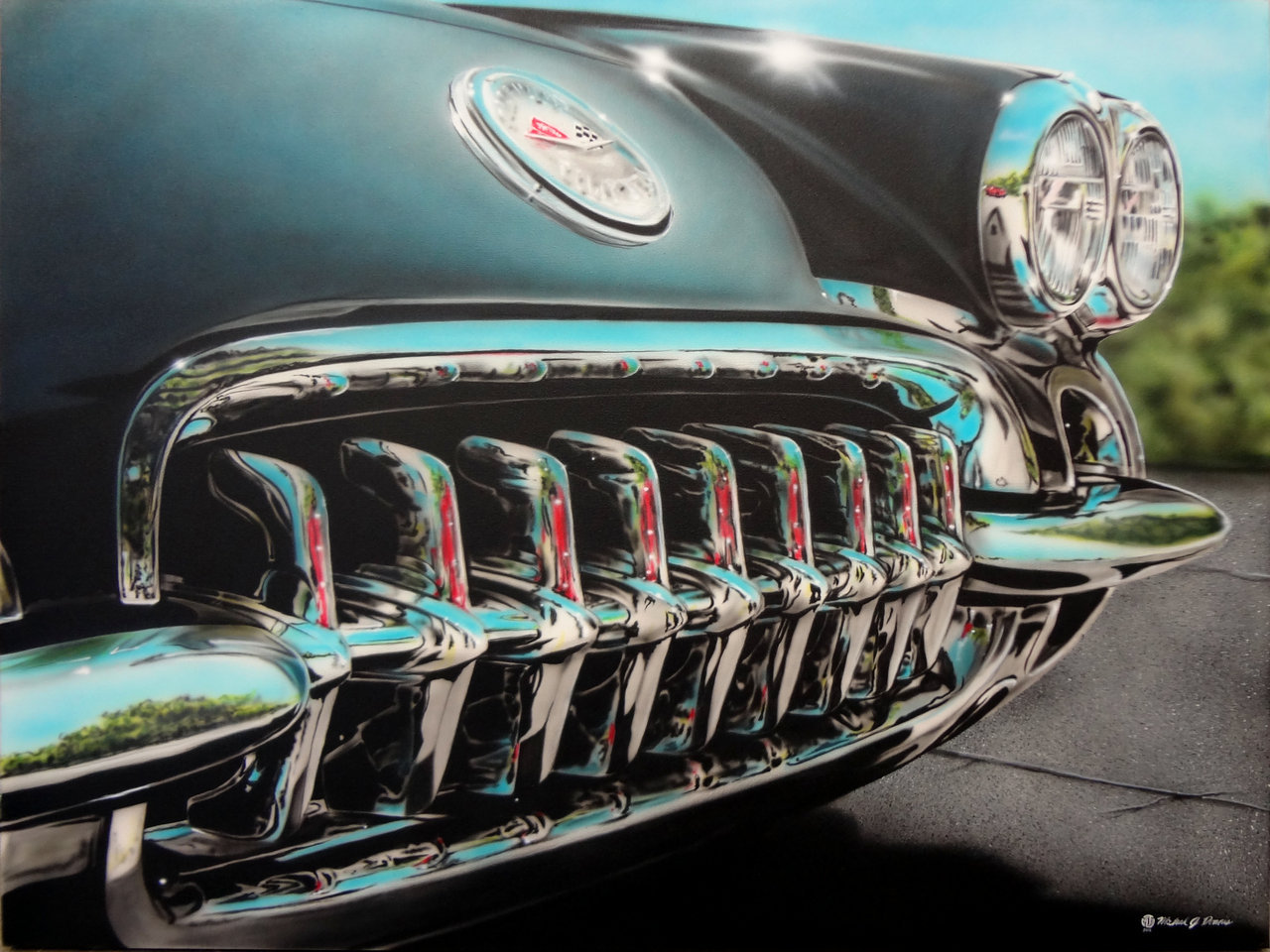 When Vettes Had Chrome, airbrush/acrylics by Mike.