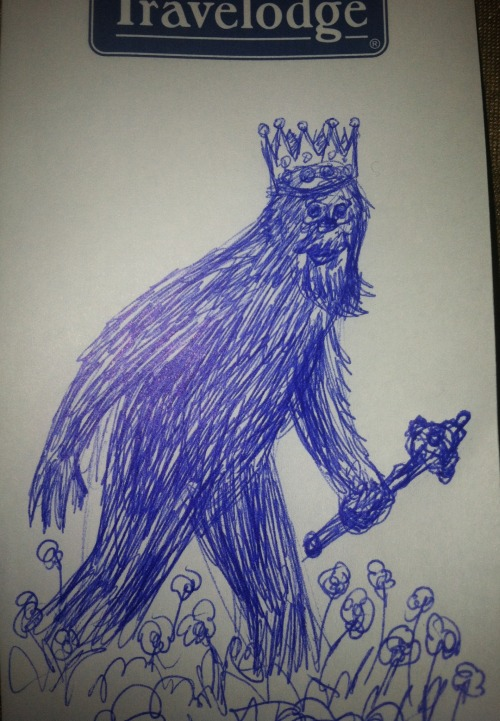 The sasquatch trots proudly through the garden, Of royal blood and with no fear of men. Had some time to kill in a hotel in San Diego, so I drew an entry for the Something Creative Challenge 2