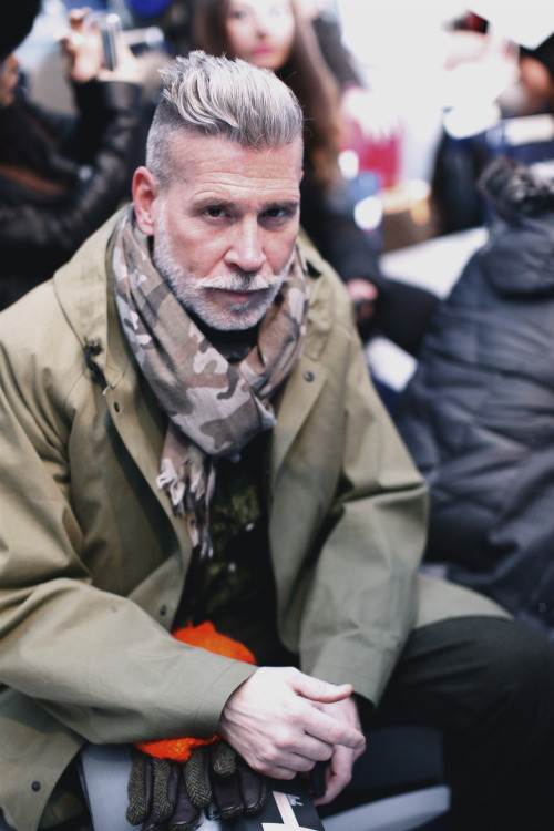 closetfreaksblog:  New York Fashion Week Nick Wooster at the Nautica F/W13 Show Find us: FACEBOOK | TWITTER | BLOGLOVIN | PINTEREST | LOOKBOOK