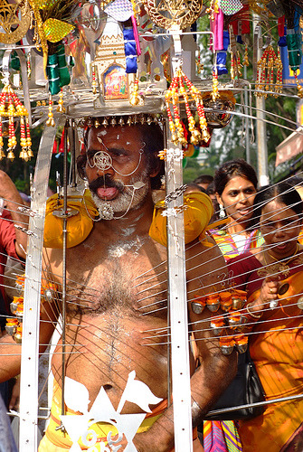 This one's not for the faint hearted! The Hindu festival of Thaipusam is about faith, endurance and penance. It's a highly colourful, event which can stretch for 3 or 4 days and is in honour the Hindu God, Lord Murugan.  More on Thaipusam by Somewhere in the world today… Picture: Thaipusam by williamcho, on Flickr