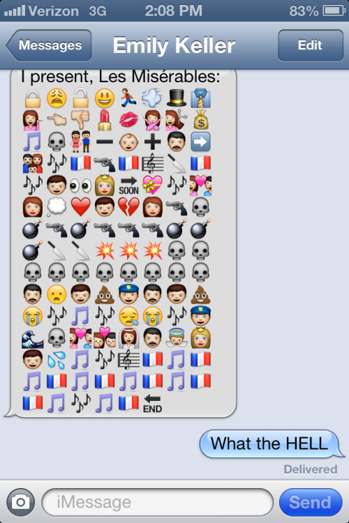 leahblaine:  Les Miserables via emoji