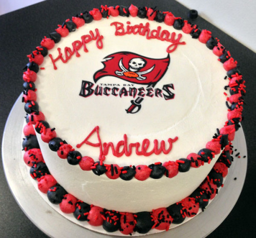 Tampa Bay Buccaneers birthday cake!We can create cakes with any NFL team's logo. Two week's notice is required for this type of cake. If you would like to order a cake with your team's logo to pick up on or before Superbowl Sunday, please call us no later than tomorrow (Sunday) by 4pm.