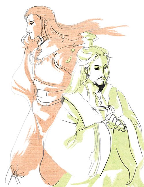 desitolentino:  Late morning rivarly doodle of Zhuge Liang and Zhou Yu. I love their tandem, respective attitude clashes, and their designs!