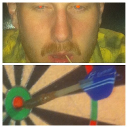 Hucks the dart. Hits the bullseye. @mickmiller86