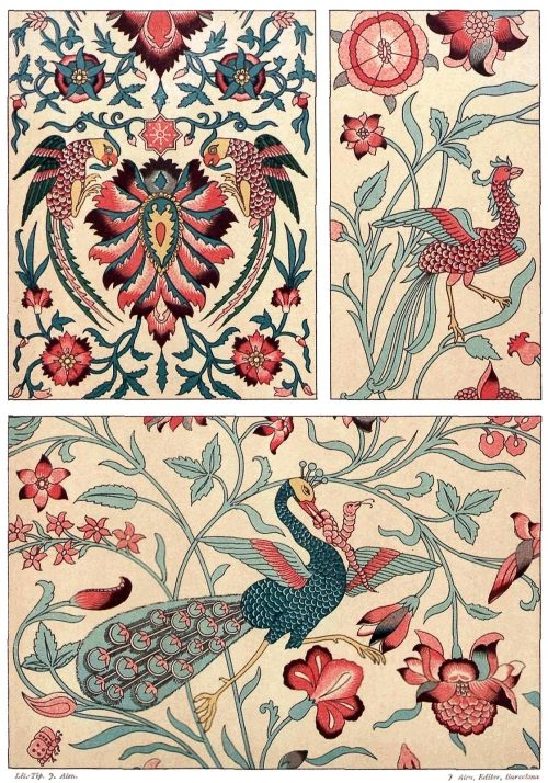 Persian art: printed fabric.  From Galería del arte decorativo (Gallery of Decorative Art) vol. 2, collective work, Barcelona,  1890.  (Source: Universitat Autonoma de Barcelona)