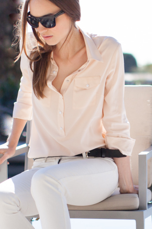 efspreview:  Black Sunglasses, Blush Pockets Blouse, White Denims