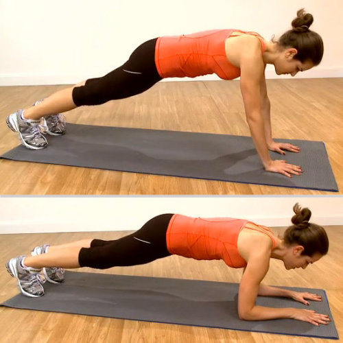 the-exercist:  Up-Down Plank  Do these in a fast, controlled manner for cardio and ab work at the same time! This move also works your arms and shoulders. Come into a plank position with your arms and legs straight. Your hands should be underneath your shoulders and your feet hips-width distance apart. Draw your navel toward your spine to engage your core and to avoid straining your lower back. Keeping your torso parallel to the floor, lower your right forearm to the mat and then the left, coming into elbow plank. Then step your right hand back onto the mat, and then the left, pushing yourself back up to plank position. Try to avoid swaying the torso from side to side. Repeat for a total of 10 reps and then reverse the direction for another 10 reps. Check out this video to see how it's done.