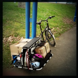 cyclehaul:  I can now say I hauled a piano on my bike. A child's piano, but a piano nonetheless.  It is possible to bike haul pianos