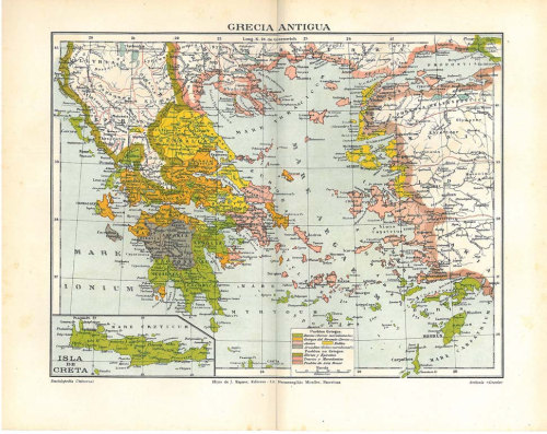 Ancient Greece Vintage Map 1923 Chromolithograph Home Decor at CarambasVintage http://etsy.me/XhYkBL