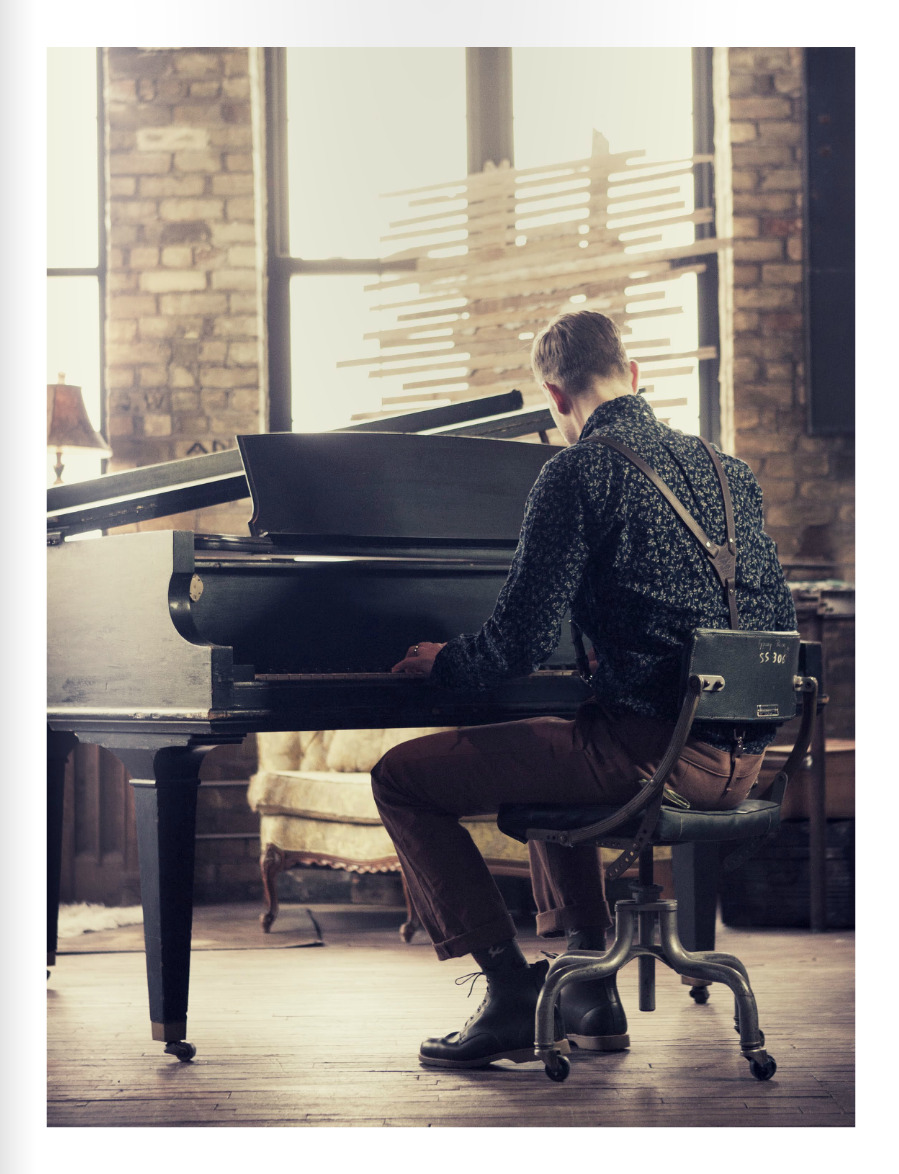 suspenders, piano, boots, and patterned button up <3