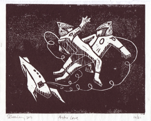 Shawn Beesley Astro Love Linoleum Cut Space