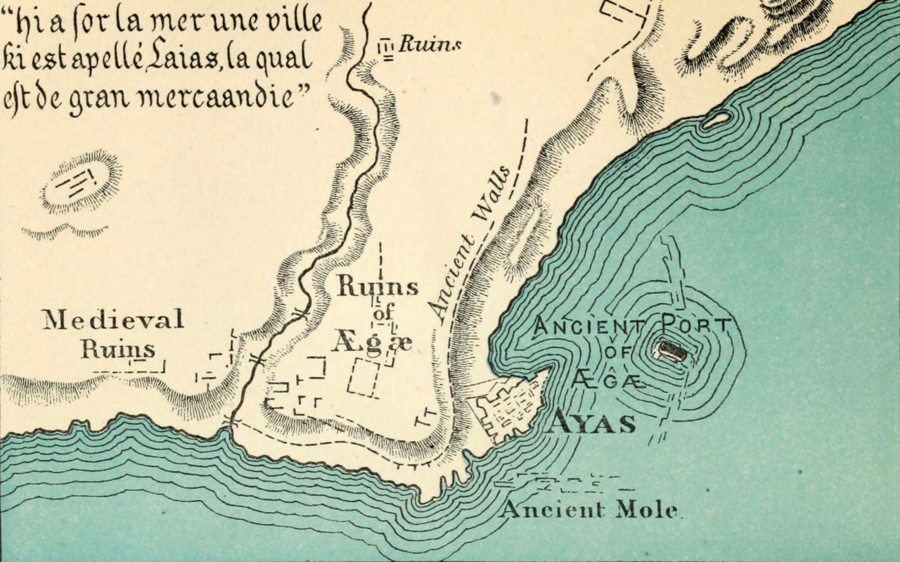 A map of Ayas (nowYumurtalık,Turkey) as it appeared in 1271, fromThe book of Ser Marco Polo: the Venetian concerning the kingdoms and marvels of the East, 1903 (via Internet Archive Book Images)