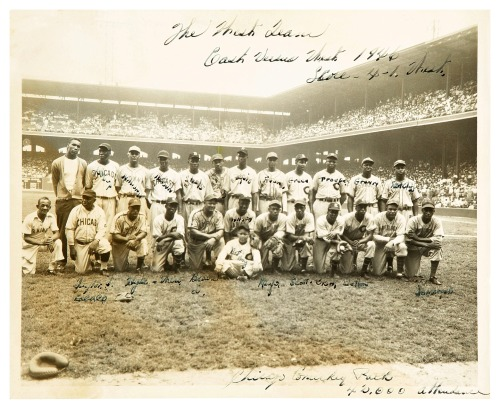 "1946 Negro League West All-Star Team East-West All-Star Game - Comiskey Park - August 18, 1946For more about the game, go here: 1946 East-West Game - Second Game excerpt: ""The second 1946 East-West Game was held at Comiskey Park on August 18, 1946. The West avenged their loss from three days earlier, beating the East, 4-1, behind a three-man pitching show. 45,474 fans turned out to watch the contest. It was the last East-West Game to feature Josh Gibson. While Gibson would be the all-time East-West leader in walks and hits (tied in the latter category), he put up an unimpressive showing offensively in his last East-West affair (0 for 3, BB, 3 steals allowed in 6 tries)."""