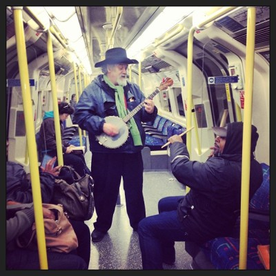 On my way back from #AllenStone's show - all the people in the tube started singing bon marley! I ❤ LONDON