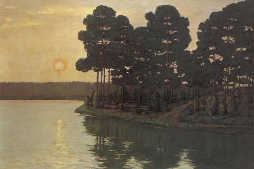 the-paintrist:   Walter Leistikow - Märkischer See bei Sonnenuntergang/Markischer lake at sunset (1895)