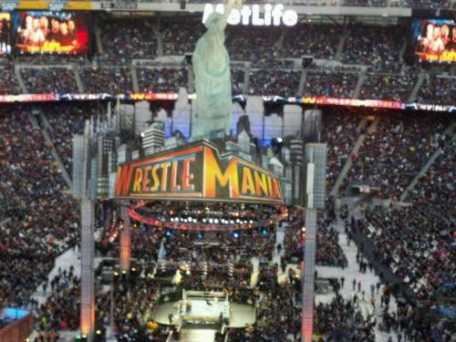 Bungholio12 had this straight on view of the WrestleMania 29 stage, at MetLife Stadium, which was lit up brilliantly and underneath a giant Statue of Liberty. (via MetLife Stadium section 350 row 15 seat 21 - Wrestlemania 29 shared by bungholio12)
