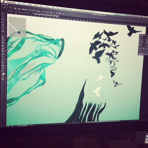 Working on a flock of birds #digital #drawing