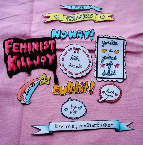 princessnitty:  nina-moon:  fuckyeahsubversivekawaii:  speak up sticker packs restocked sold out! i will be restocking again tomorrow at around 1 pm EST!  I need this so bad.  I just really want the feminist killjoy one