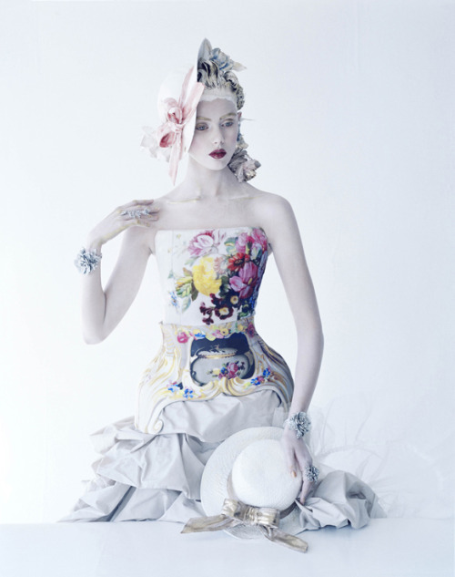 Frida Gustavsson in Mary Katrantzou, photographed by Tim Walker for Vogue US January 2012.
