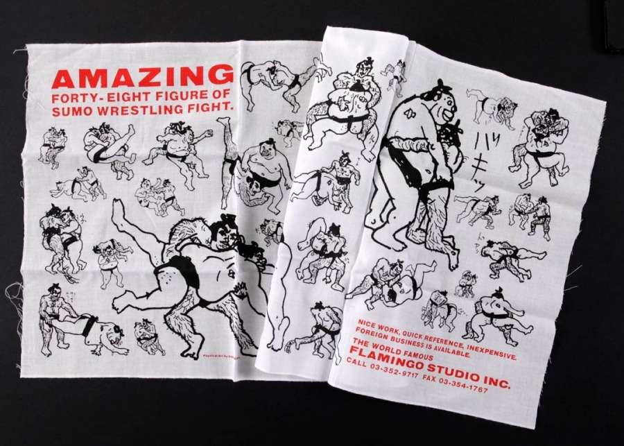 Amazing Forty-Eight Figure of Sumo Wrestling Fight Tea Towel by King Terry via PictureBox