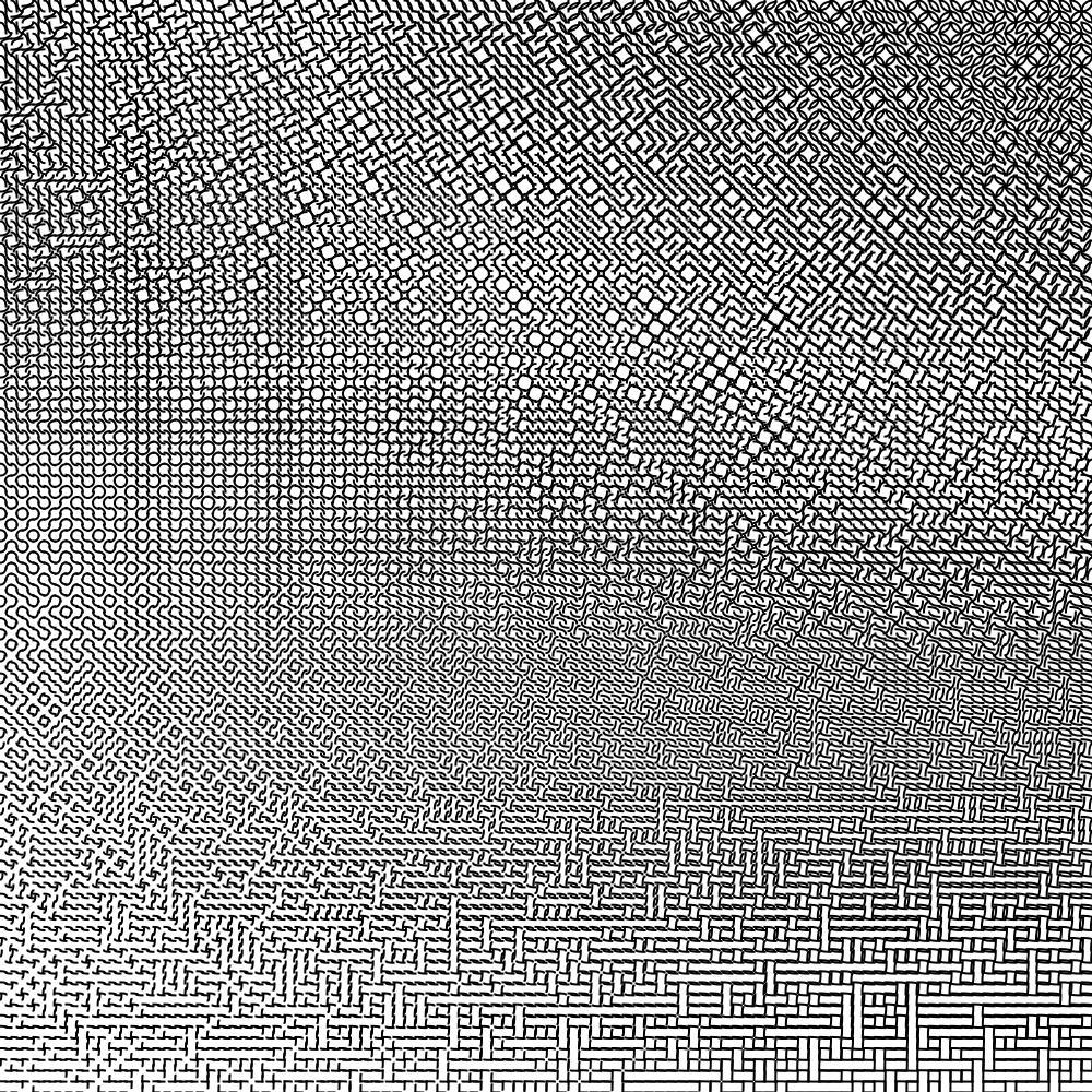 1000x1000 Mathematica code: Tile[k_, rx_, ry_, x_, y_, r_] := Table[  Translate[   Rotate[    {AbsoluteThickness[k],     Circle[{i, i}, {rx, ry}, {i*Pi, Pi/2 + i*Pi}]},    r, {.5, .5}],   {x, y}],  {i, 0, 1, 1}]rr[Q_] := (SeedRandom[Q]; RandomReal[])Manipulate[Graphics[ Table[  Tile[4, .5 + .5*x/1000, y/1000, x, y, Floor[3*rr[x*y]] Pi/2],  {x, 1, 100, 1}, {y, 1, 100, 1}], ImageSize -> 1000, PlotRange -> {{1, 101}, {1, 101}}],{r, 0, 1, .25}]