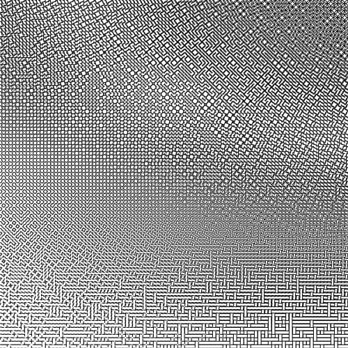 intothecontinuum:  1000x1000 Mathematica code: Tile[k_, rx_, ry_, x_, y_, r_] := Table[  Translate[   Rotate[    {AbsoluteThickness[k],     Circle[{i, i}, {rx, ry}, {i*Pi, Pi/2 + i*Pi}]},    r, {.5, .5}],   {x, y}],  {i, 0, 1, 1}]rr[Q_] := (SeedRandom[Q]; RandomReal[])Manipulate[Graphics[ Table[  Tile[4, .5 + .5*x/1000, y/1000, x, y, Floor[3*rr[x*y]] Pi/2],  {x, 1, 100, 1}, {y, 1, 100, 1}], ImageSize -> 1000, PlotRange -> {{1, 101}, {1, 101}}],{r, 0, 1, .25}]