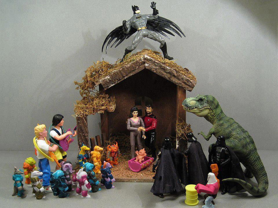 joetheblogger:  heatherannehogan:  Oh, holy night.  HARK THE HERALD BATMAN SINGS GLORY TO THE NEWBORN M.U.S.C.L.E. MAN PEACE ON EARTH AND MERCY MILD BATTLE-BEASTS AND VADERS RECONCILED   JOYFUL BILL AND TED, YOU RISE JOIN THE TRIUMPH, STAR TREK GUYS WHILE THE WYLD STALLYN PLAYS CANON SAYS THE T-REX STAYS