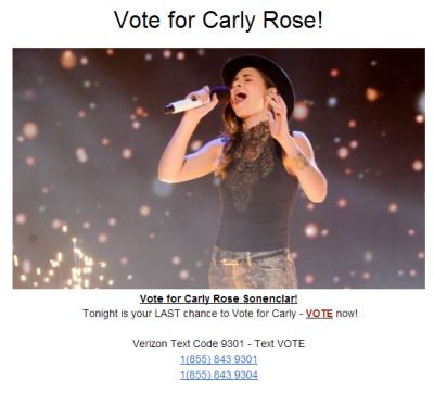 godney:  VOTE FOR CARLY!!! Make sure you vote so she can win the X Factor tomorrow night!!