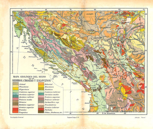 Geology Vintage Map Kingdom of Serbs Croats and Slovenes1920s Book Illustration at CarambasVintage http://etsy.me/ZYA7D2
