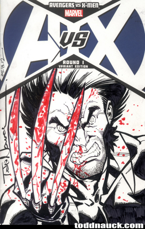 toddnauck:  Wolverine.AvX sketch cover.  Badass Wolvie by @ToddNauck!