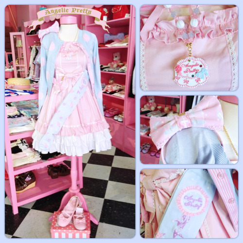 Do you ever mix items from different Angelic Pretty series? You can often find colours from our various series that match very closely and look super cute together in a coordinate! Here, we've combined the Lace Up Angel JSK in pink with the Dream Dot Knit Cardigan in Sax, Whip Showcase Socks and Necklace, and Etoile Twins Headbow~!