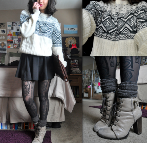 ayanagiann:  6 March 2013 - Winter Sweaters in March (Thrifted) Boys Sweater // Cotton On Swing Skirt // H&M Tights // (Thrifted) Clutch // H&M Socks // Aldo Boots
