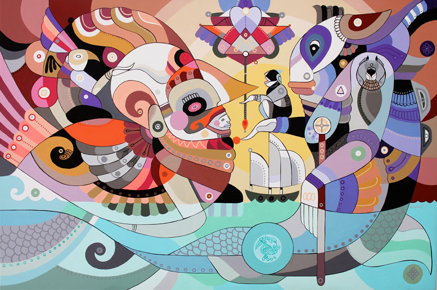 "Fernando Chamarelli Sampa- Nike, ilustração digital, 2013 Rio atlante, 90x60cm, acrilica sobre tela, acrylic on canvas 23,7""x35,5"", 2013 Igorot, acrylic on canvas, 100x100cm, 2013 Em busca da montanha, 120 x 70 cm, acrylic on canvas, 2013, images posted with permission of the artist. Website  