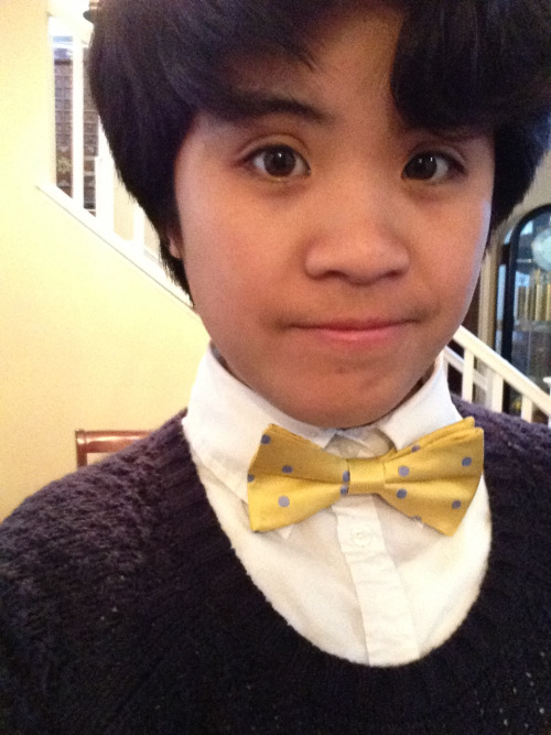 "So today I wore my new bow tie to school. I really liked my outfit today and I thought it'd be a pretty good day. Now, random strangers walking through my school never take notice to my outfits. Or at least, they don't mention anything about it. Today someone did. Today during passing period, a random student said at me, ""Nice bow tie, you faggot.""  And immediately, I whipped around and said, ""/Excuse/ me?"" But he was too far away to hear me.  Now, I don't know if he mistook me for a boy because my hair is short or if he assumed I was a lesbian because of my hair and my outfit or SOMETHING. I honestly don't care if he assumed something about me that was wrong.  It was the fact that he used that word to insult me.  I'm not going to rant any more on it but I just want to say one thing:  Always be kind to people.  I'm honestly very concerned with people and the way they treat everyone around them. Just.  Be kind."