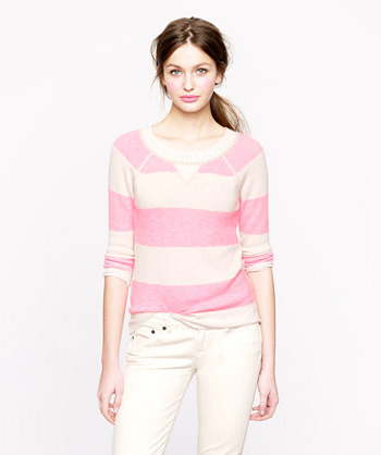 [Cashmere Two-Tone Stripe Sweatshirt by J. Crew]