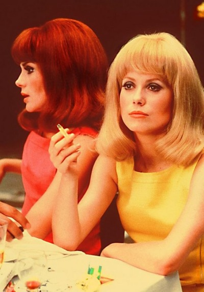 theswinginsixties:  Francoise Dorleac and Catherine Deneuve in 'The Young Girls of Rochefort',1967.