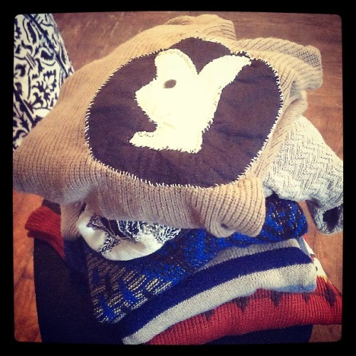These are some sweaters I found in the garbage. #playboybunny