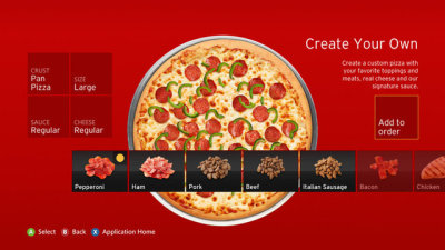 cakeybots:  shadowkixx:  laughingsquid:  Pizza Hut Launches New App For Ordering Pizza Straight From the Xbox 360 Console  and so begins the golden age of mankind  the pinnacle of all human achievement