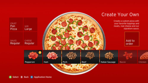 shadowkixx:  laughingsquid:  Pizza Hut Launches New App For Ordering Pizza Straight From the Xbox 360 Console  and so begins the golden age of mankind