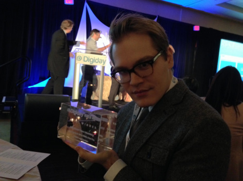 Last night Giant Media brought home the Digiday Video Award for Best Social Video Advertising, for our work with RPA, TBWA Chiat Day, Initiative and ConAgra. Here is our very own Cole Stryker displaying the award.  Big shout out to Dollar Shave Club, a brand we were thrilled to work with, for winning Best Video Ad Campaign.  We're a young company with a hungry team. It was a true honor to be recognized among so many innovative minds and industry vets. Thanks to Digiday for putting together such a great event. We're confident that this win will be the first of many such accolades.