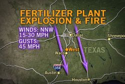 Wind Challenges West, Texas, Fire Containment Effort  With the winds gusting in the wake of a cold front that has been bringing severe weather across the center of the country, firefighters may face some challenges. The winds will make the fire following the explosion more difficult to contain.
