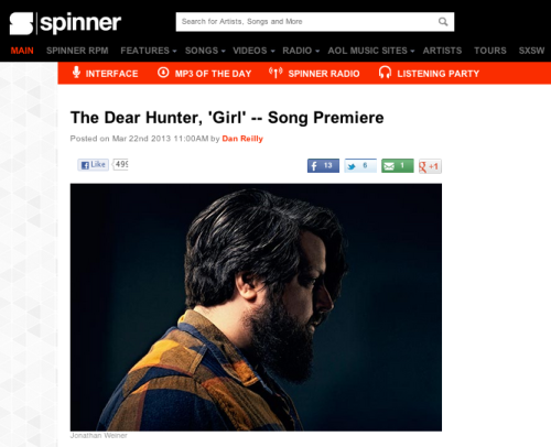 "equalvision:  SPINNER.com is premiering a new song from The Dear Hunter's upcoming release, Migrant! Check out ""Girl"" right HERE and then head over to TheDearHunter.com to preorder the album, which will be out April 2nd on Equal Vision Records/Cave & Canary Goods!"