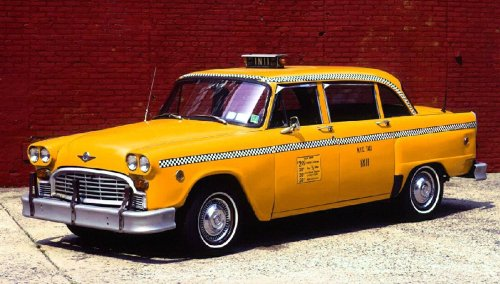 grindlebone: The story of the Checker cab company is full of as much city politics and racehorse assassination as any mobster film.  But the important parts are:  1) Checker aimed for the high end, as most people took buses or streetcars at the time; 2) For decades New York's regulations required that all cabs be manufactured as cabs rather than modified sedans and when faced with an antitrust suit Checker (as cab manufacturer and cab company) sold licenses rather than allow its drivers to use other cars; and 3) The classic Checker Cab was designed in 1958 and manufactured unchanged until 1982.  That's why they are so ubiquitous in movies. It's actually longer than a four-door, with extra leg room and jump seats on the back of the front seats.  The floor was totally flat- no transmission tunnel- and five passengers could fit in the back seat alone.  The side glass is flat and rolls all the way down.  The B and C pillars are vertical, and there's no dogleg cutout in the rear door for the wheel well.  There was a civilian edition, the Marathon, and luxury limo versions.  The interior was sourced from Studebaker, the engine was a Continental, the suspension was from Ford, and the transmission was a Bendix. After starting business in 1920, the company posted its first loss in 1981, mostly due to loosening of NYC taxi regulations.  GM President Ed Cole bought the company and began to redesign the cabs based on an extended Volkswagen Rabbit, but fate and good fortune struck him down at the controls of his private aircraft and prevented that crime before it happened.  The last cabbie with a Checker retired it (due to a worn-out frame) in 1999.  http://www.thetruthaboutcars.com/2010/04/an-illustrated-history-of-checker-motors/
