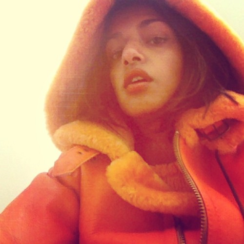 miauniverse:  holy orange cloth today for final mastering #MATANGI   New album this summer!