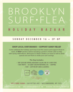 Come shop 20+ local and Rockaway surf brands this Sunday at Picture Farm in Williamsburg!! Each vendor will be donating 10% of proceeds to Sandy recovery.