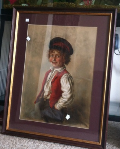 "Gaerik has blue eyes and curly blonde hair.  I picked up this framed print at Goodwill today (yes, the price tags are still on it). It looks a LOT like Gaerik. When he got home from school I asked him who he thought the picture looked like. His response: ""Ummm, Thomas Jefferson?"""