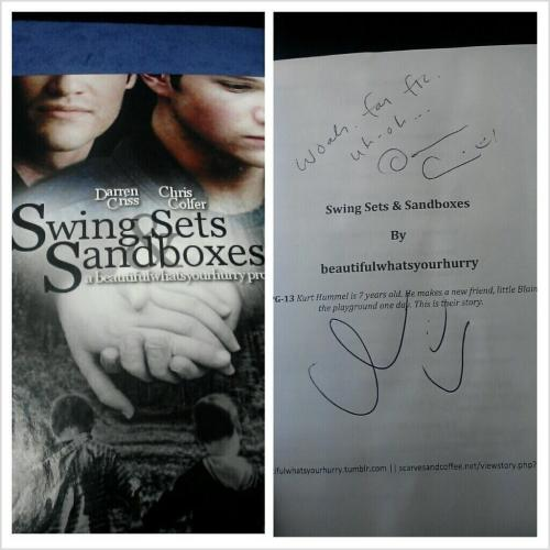 lsklainegleek:  DARREN AND CHRIS SIGNED JAMIE'S FIC!!!!!!!!!!!!!!!!!!!