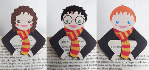 Harry Potter character bookmarks, designed by Beth Yates and available on Etsy. She also has bookmarks for Doctor Who, Sherlock, Merlin, Alice in Wonderland and The Big Bang Theory. Courtesy of The Mary Sue.
