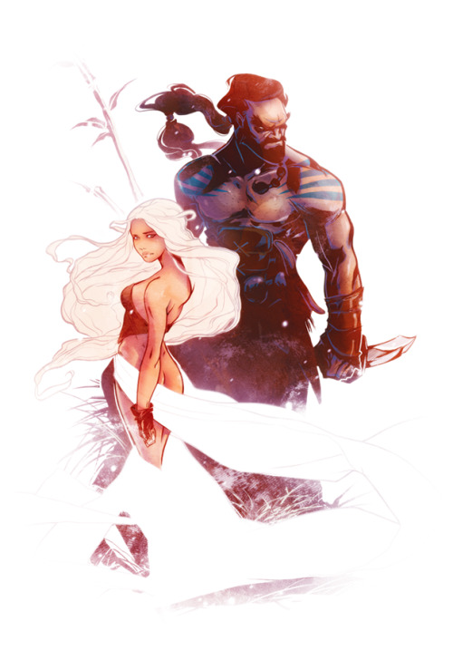 m-goes-before-n-you-white-fucker:  Daenerys and Drogo Final By Mikuloctopus His art is FABULOUS.