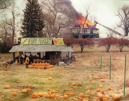 "On the cover of American Prospect, Joel Sternfeld's ode to roadside America, was a ghoulish photo. A fireman shops for a pumpkin as the farmhouse — whose fire presumably brought him to this very acres — burns in the background. Its fiery destruction perfectly complemented the wintry leaves, the spoilt pumpkins, and from the foreground, with his hands tightly clasped upon a prized possession, the orange-clad firefighter: an American Nero. It was not a staged Leibovitzian spectacle. Joel Sternfeld indeed witnessed the fire while driving his Volkswagen through McLean, Virginia. However, if there is one thing the readers should take from Iconic Photos, it is that photographs lie too. In this case, the fire was a controlled training exercise and the firefighter was on a break. But this fact wasn't even clear to the reviewers of his works (here, here). When the photo was published, firstly in Life, and then in many other magazines and exhibitions, it was only with pithiest of captions: ""Joel Sternfeld; McLean, Virginia; December 1978″. The photographer himself reveled in this ambiguity; in a 2004 interview where the Guardian called him the chronicler of ""the sinister curiousness of modern America"", he confided: ""Photography has always been capable of manipulation. Even more subtle and more invidious is the fact that any time you put a frame to the world, it's an interpretation. I could get my camera and point it at two people and not point it at the homeless third person to the right of the frame, or not include the murder that's going on to the left of the frame. You take 35 degrees out of 360 degrees and call it a photo. There's an infinite number of ways you can do this: photographs have always been authored."" via"